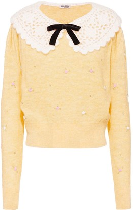 Miu Miu Bow Detail Wool Jumper
