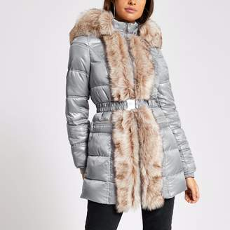 River Island Womens Grey faux fur trim padded longline jacket