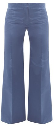 Valentino High-rise Silk-satin Straight-leg Trousers - Blue