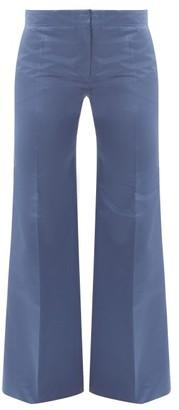 Valentino High-rise Silk-satin Straight-leg Trousers - Womens - Blue