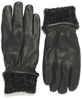 Black Brown 1826 Leather and Knit Gloves