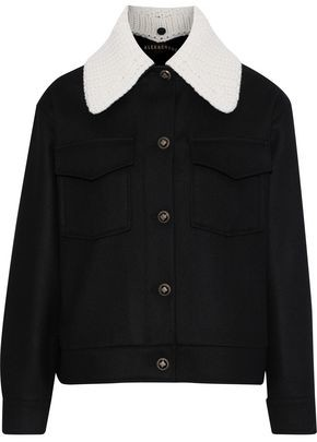 ALEXACHUNG Knit-trimmed Wool And Cashmere-blend Jacket