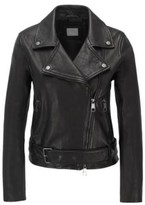 BOSS Asymmetric biker jacket in nappa leather with belted waist