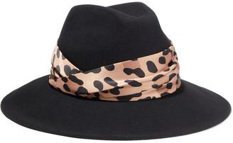 Eugenia Kim Maxine Leopard-print Satin-trimmed Wool-felt Fedora