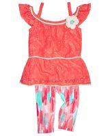 Nannette 2-Pc. Lace Top and Capri Leggings Set, Little Girls (4-6X)