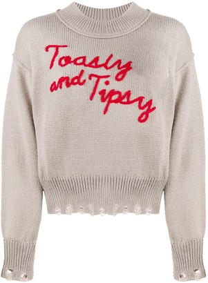 Wildfox Couture Toasty and Tipsy distressed jumper