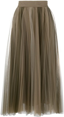 Brunello Cucinelli Pleated Tulle Midi Skirt
