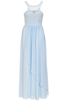 Quiz Blue Chiffon High Neck Beaded Maxi Dress