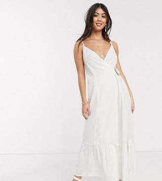 ASOS DESIGN Petite cami wrap maxi dress in linen with wicker belt in white