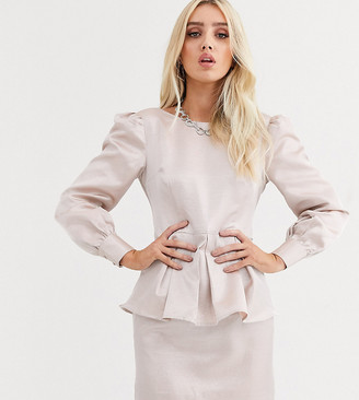 UNIQUE21 peplem hem mini dress with baloon sleeves in shimmer satin