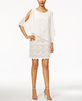 Connected Petite Lace Cold-Shoulder Cape Dress