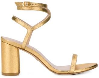 Stuart Weitzman Metallic Block Heel Sandals