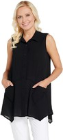 Joan Rivers Classics Collection Joan Rivers Sleeveless Textured Crepe Button Front Shirt