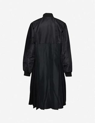 Black Comme Des Garcon Pleated-panel woven coat