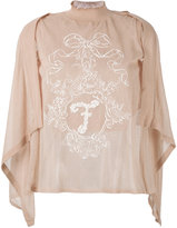 Fendi embroidered gauze logo top - women - Cotton/Linen/Flax/Polyamide/Polyester - 40