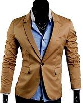 Easy Mens Solid color One Button Dress Slim Suit Blazer Coats Jackets L