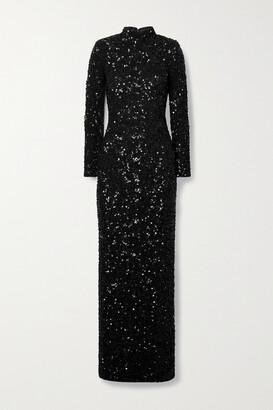 Alice + Olivia - Sequined Stretch-crepe Gown - Black