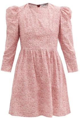 Batsheva Puff-sleeve Floral-print Cotton Mini Dress - Burgundy Print