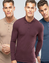 Asos 3 Pack Extreme Muscle Long Sleeve Polo