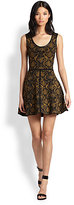 Yigal Azrouel Cut25 by Leather-Trimmed Snake-Print Knit Dress