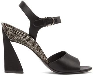 Salvatore Ferragamo Aede Crystal-embellished Satin Sandals - Womens - Black