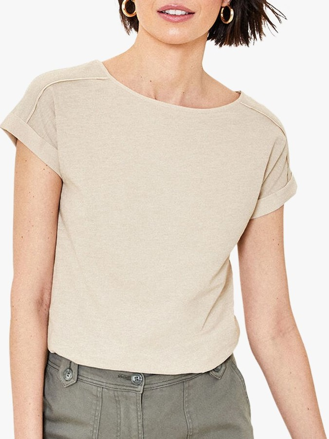 Oasis Roll Sleeve T-Shirt, Stone