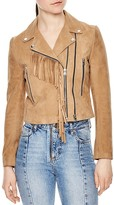 Sandro Rebel Fringe Trimmed Suede Jacket