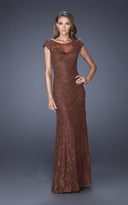 La Femme 20490 Illusion Bateau Neck Sheath Dress
