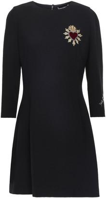 Dolce & Gabbana Appliqued Velvet-trimmed Wool-crepe Mini Dress