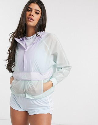 adidas Outdoors cropped wind jacket in mint
