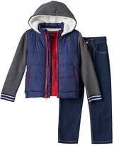 Boys 4-7 Only Kids Apparel Ribbed Sleeve Sherpa-Lined Jacket, Tee & Jeans Set