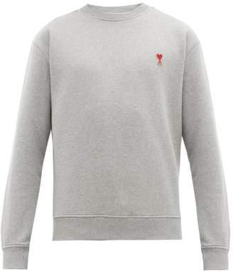 Ami Logo Appliqued Cotton Jersey Sweatshirt - Mens - Grey
