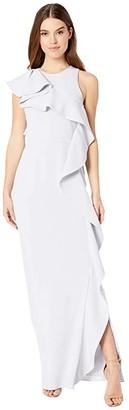 Halston Flounce Crepe Gown (Slate Grey) Women's Dress