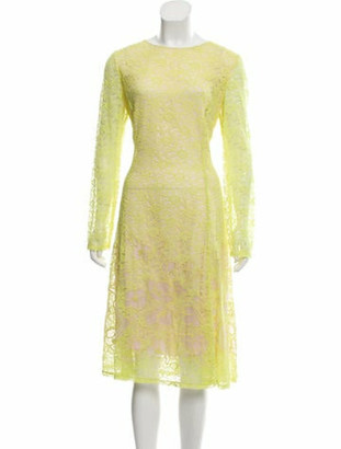 Oscar de la Renta Lace Midi Dress w/ Tags Chartreuse