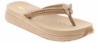 Volatile Women's Gwynne Bling Thong Sandal with Butterfly Ornament Gold