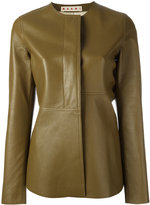 Marni frill leather jacket - women - Lamb Skin - 40