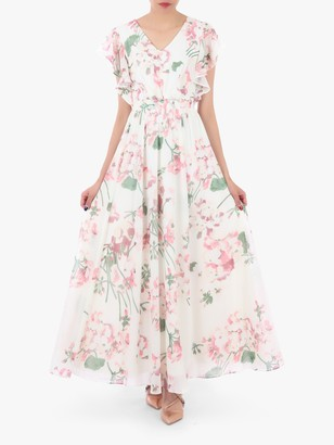 Jolie Moi Floral Maxi Bridesmaid Dress, Cream