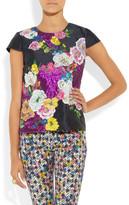 Erdem Amanie floral-appliquéd silk-mikado top