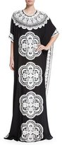 Naeem Khan Metallic Floral-Embroidered Caftan, French Blue