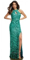 Mac Duggal Sequined Open Cowl Back Prom Dress