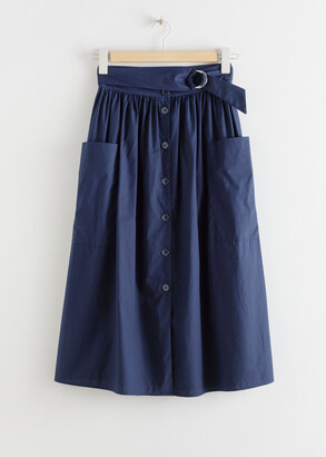 And other stories A-Line Cotton Midi Skirt