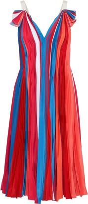 Prabal Gurung Pleated Color-block Silk Crepe De Chine Dress