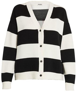 Miu Miu Striped Cat Mohair-Blend Knit Cardigan