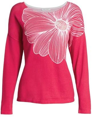 Joan Vass Floral Intarsia Top