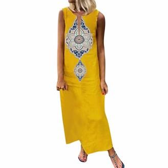 LOPILY 2019 Work Dress Women Sleeveless Print V-Neck Side Slit Bohemian Dresses Shift Boho Maxi Dress Black XL