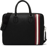 Bally City Pebbled Leather Slim Briefcase W/ Shoulder Strap