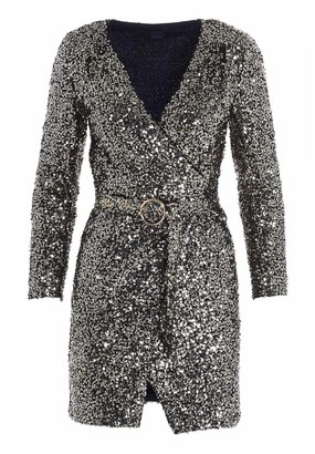 Pinko Sequin-Embellished Wraparound Mini Dress