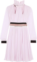 Giambattista Valli Embellished Pleated Silk-chiffon Dress - Pink