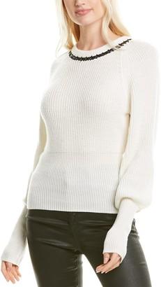 Tanya Taylor Ingrid Leather-Trim Wool Sweater