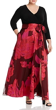 Adrianna Papell Floral Organza Combo Gown